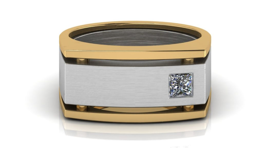 Yellow & white gold wide angular mens band featuring a flush set princess cut diamond with brushed center