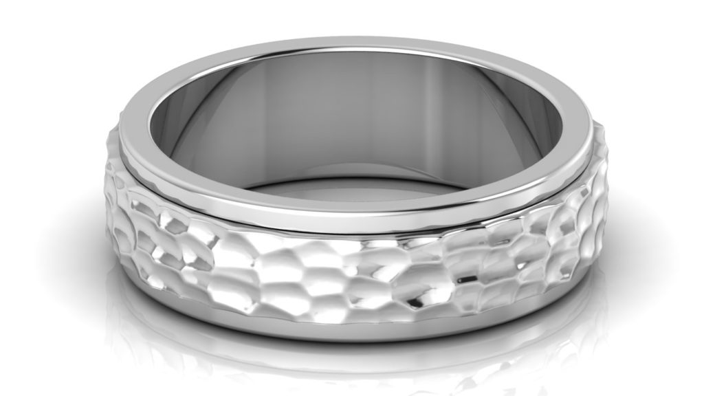 White gold mens band with planished center and polished sides