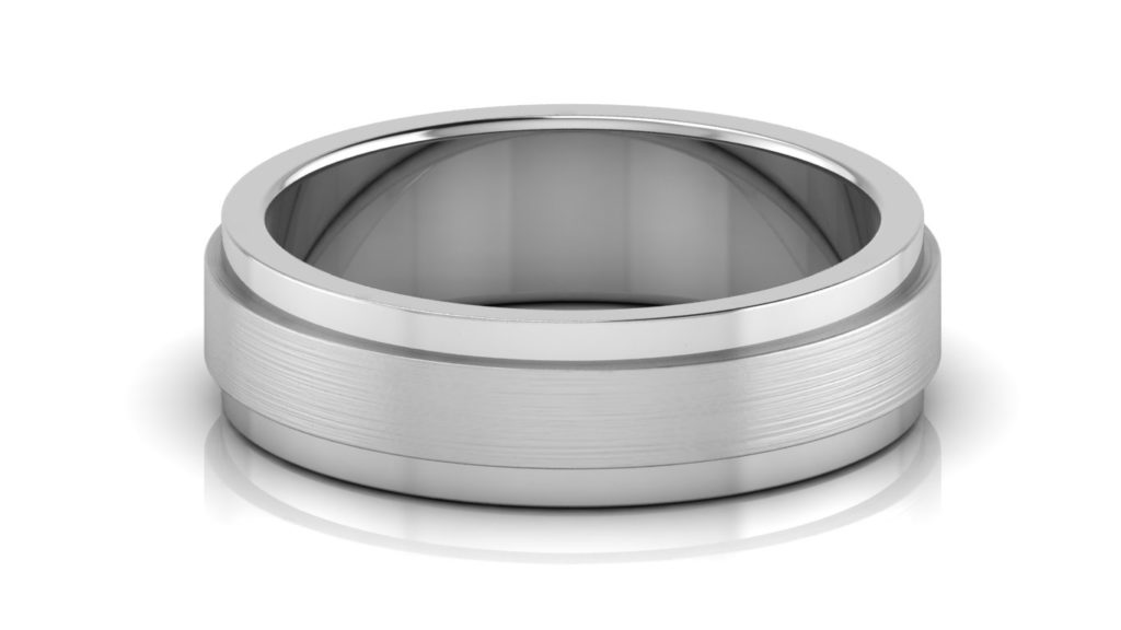 White gold mens band with raised brushed center and polished sides