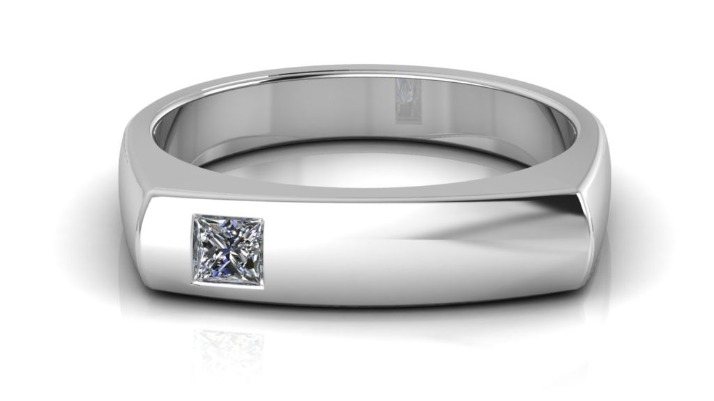 White gold angular mens ring featuring a flush set princess cut diamond