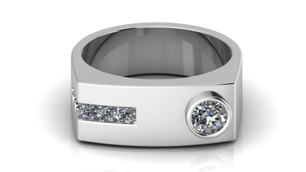 White gold angular mens band featuring a round bezel set diamond and six channel set diamonds