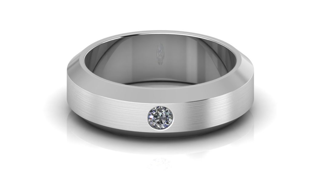White gold chamfered edge mens band with a flush set diamond