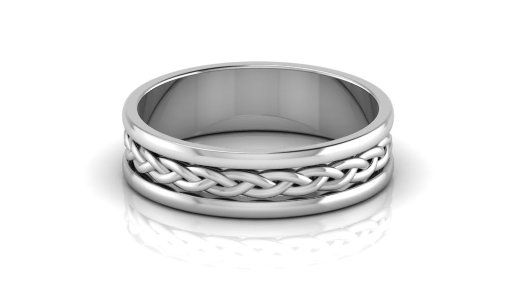 White gold band with braided rope center