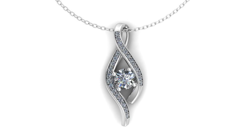 White gold diamond twisted loop pendant