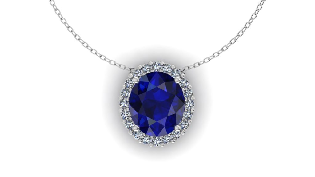 White gold diamond halo pendant featuring an oval cut ceylon sapphire