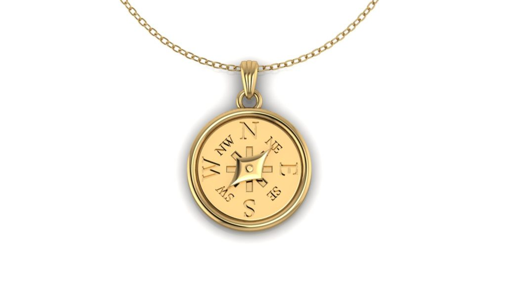 Yellow gold compass pendant