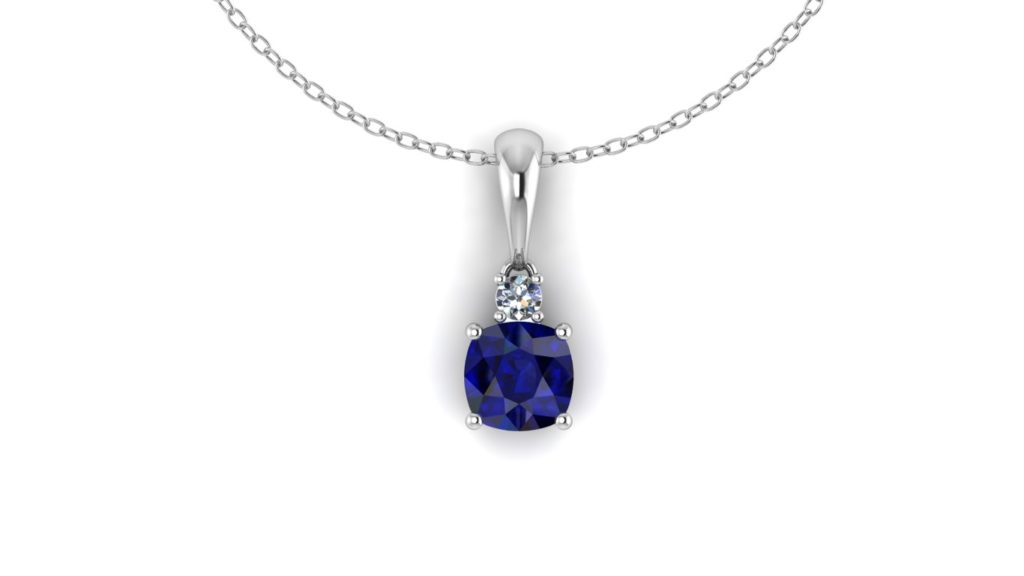 White gold sapphire pendant with diamond accent