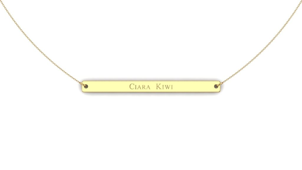 Yellow gold bar initial pendant