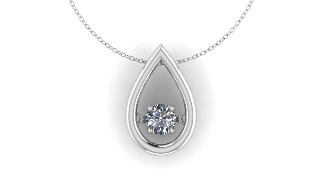 White gold tear drop pendant with movable diamond