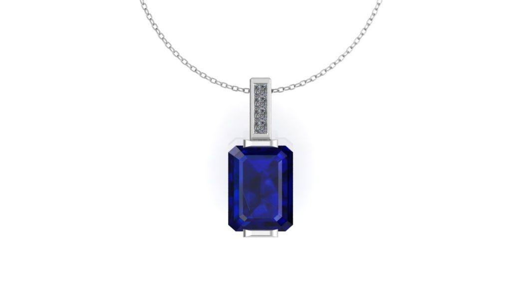 White gold bar set ceylon sapphire pendant with diamond accents