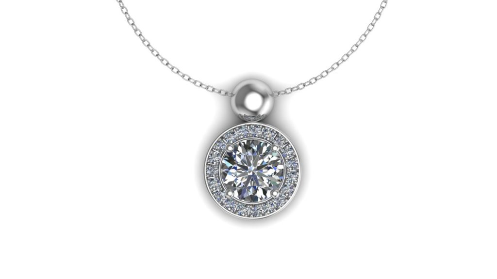 White gold pave set diamond halo pendant
