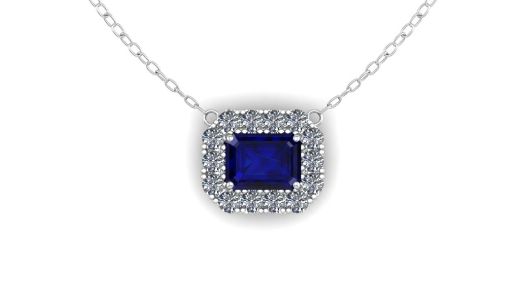 White gold diamond halo pendant featuring a ceylon sapphire