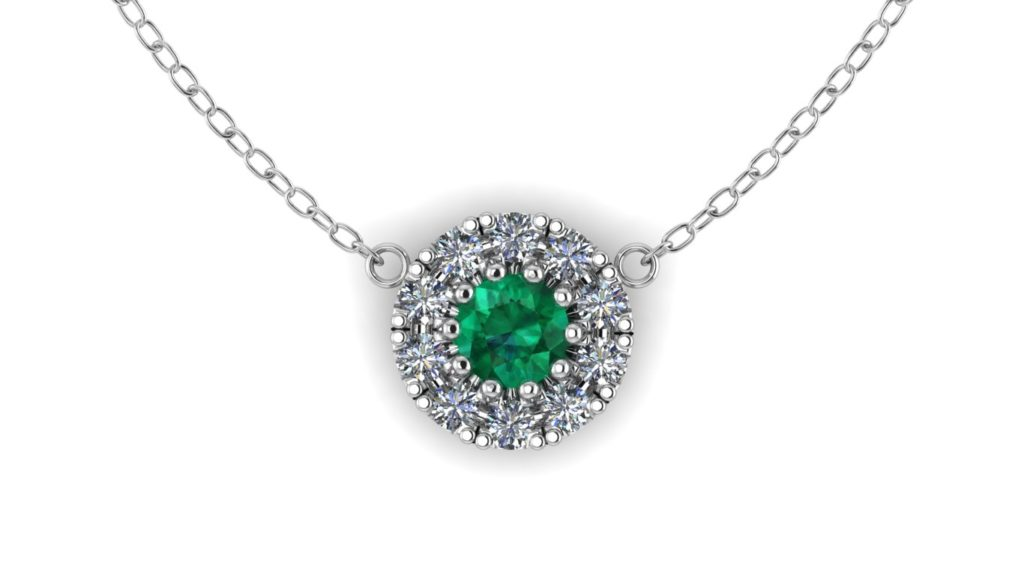 White gold diamond halo pendant featuring emerald