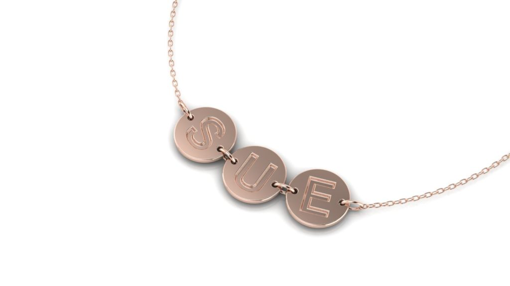 14K Rose gold disc initial pendant