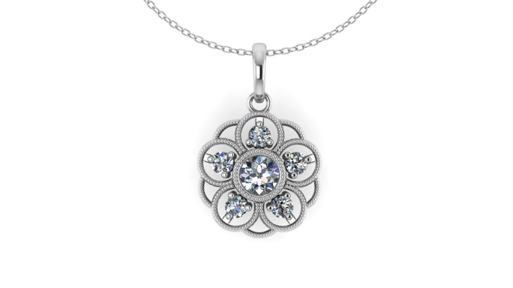 White gold flower pendant with diamonds and milgrain accent
