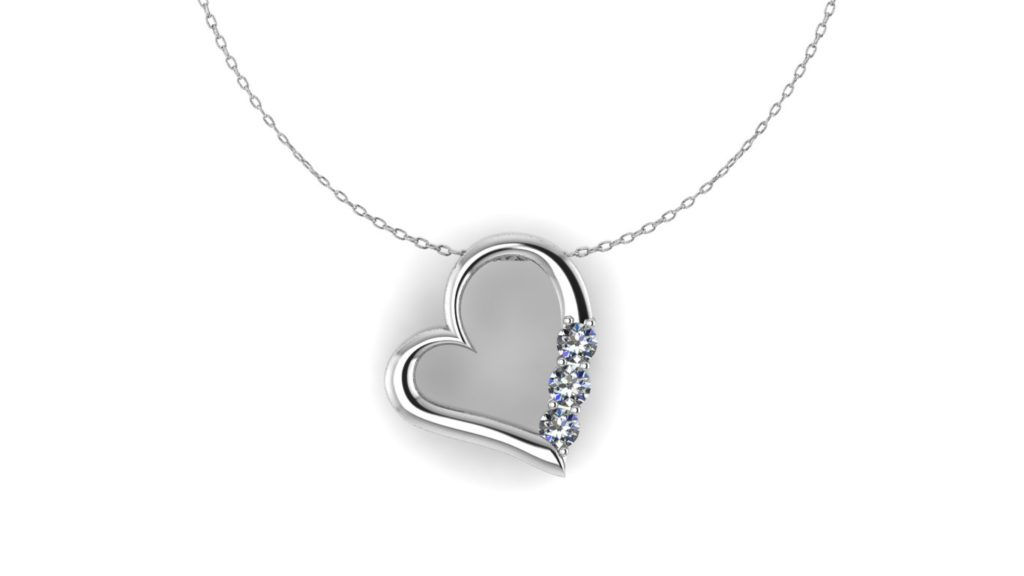 White gold heart pendant with diamond accents