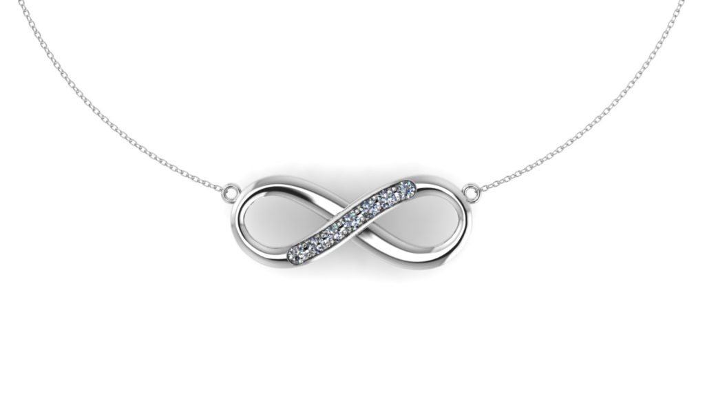 White gold infinity pendant with diamond accent