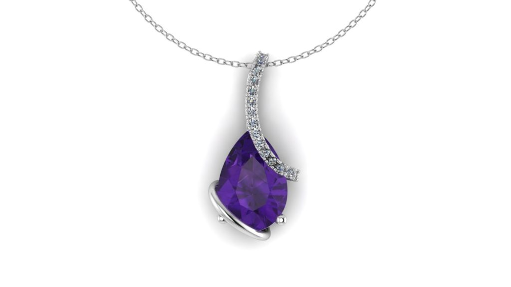 White gold pendant featuring a pear cut amethyst and diamond accents