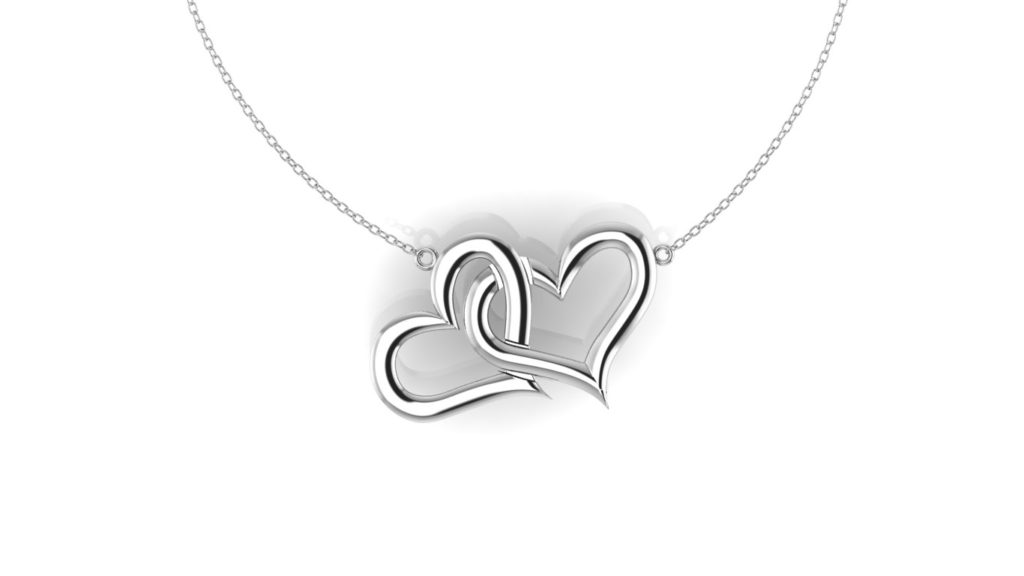 White gold interlocking hearts