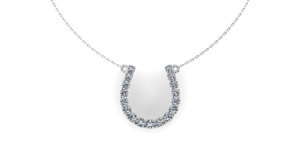 White gold diamond horseshoe pendant