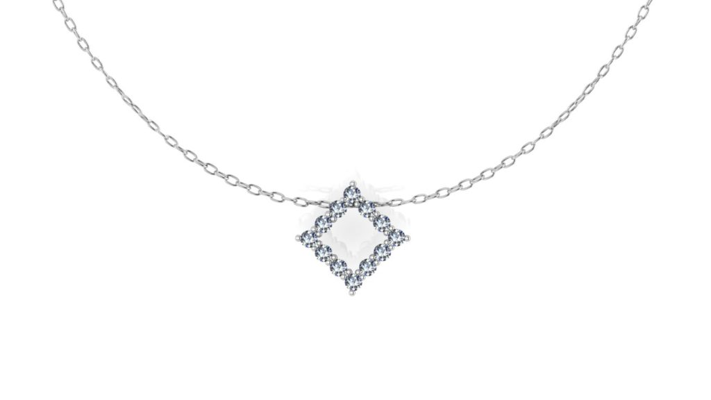 White gold diamond shaped pendant with diamonds