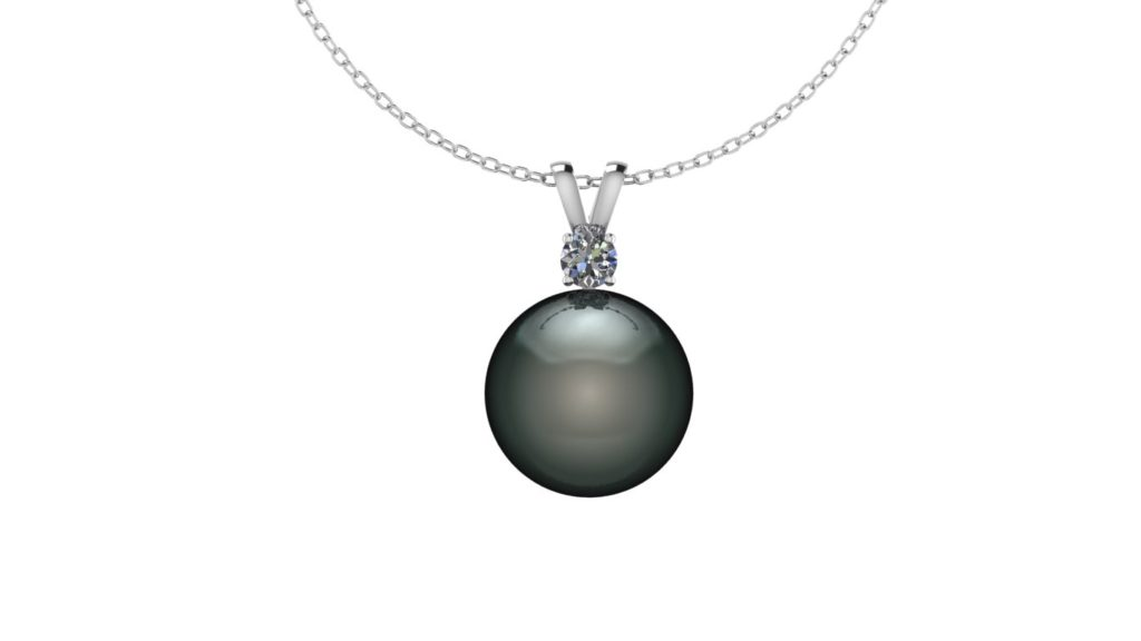 White gold tahitian pearl pendant with diamond accent