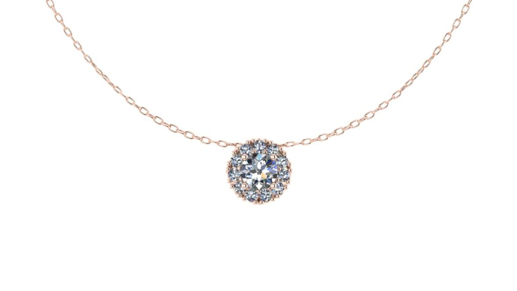 Rose gold round diamond halo pendant
