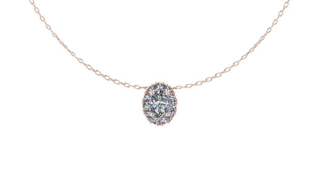 Rose gold oval diamond halo pendant