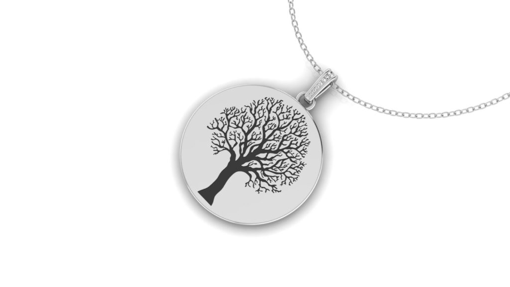White gold family tree disc pendant