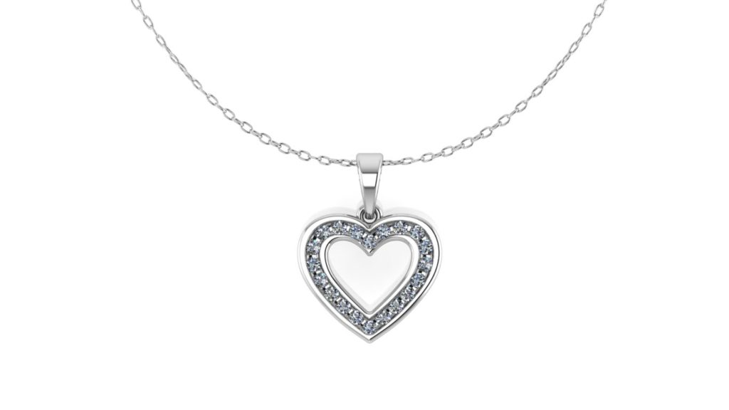 White gold channel set diamond heart pendant
