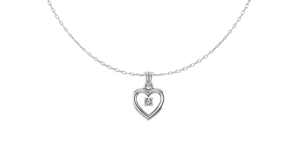 White gold heart pendant with diamond accent