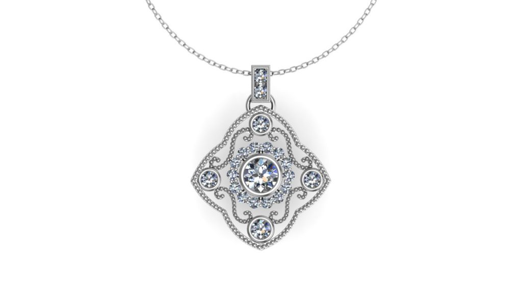 White gold filigree style pendant diamond and milgrain accents