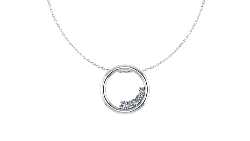 "White gold ""O"" pendant with diamond accents"