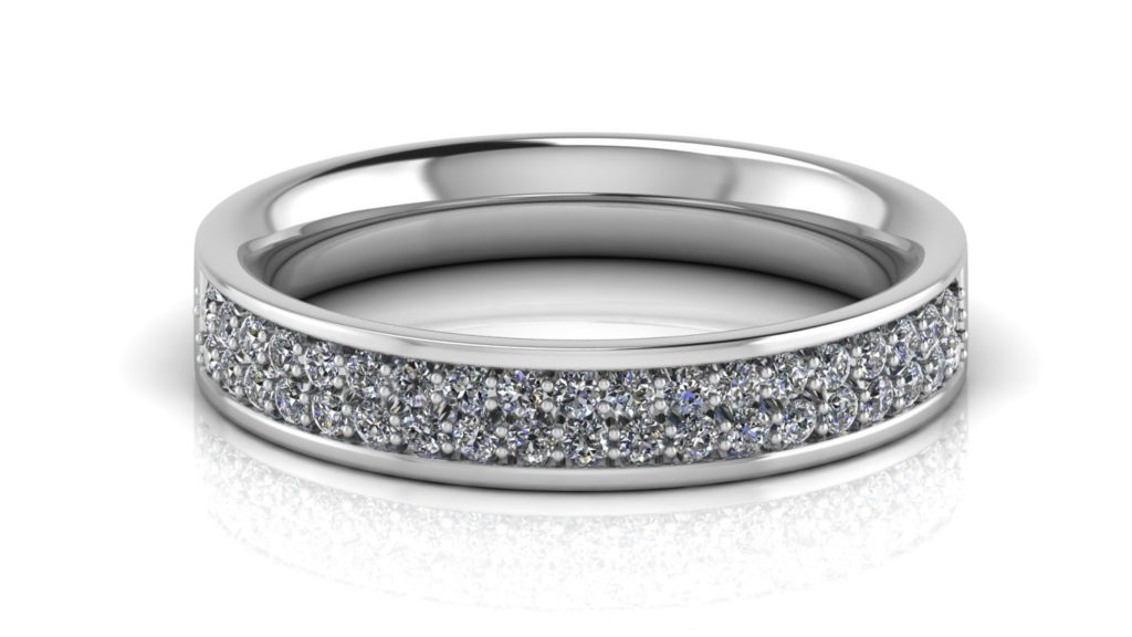 White gold ladies ring featuring two rows of micro pave set diamonds