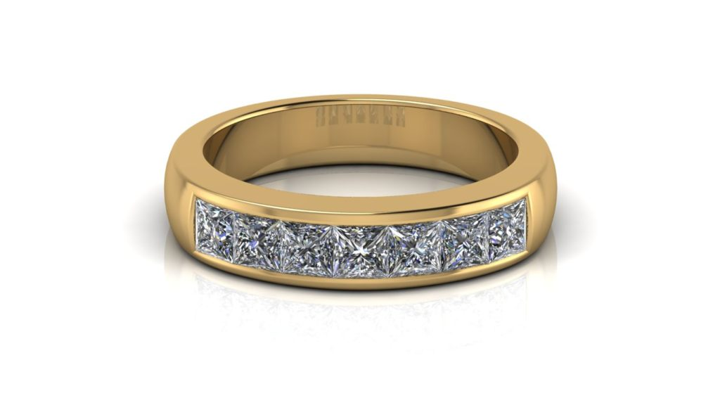 Yellow gold ladies band featuring seven channel set princess cut diamonds