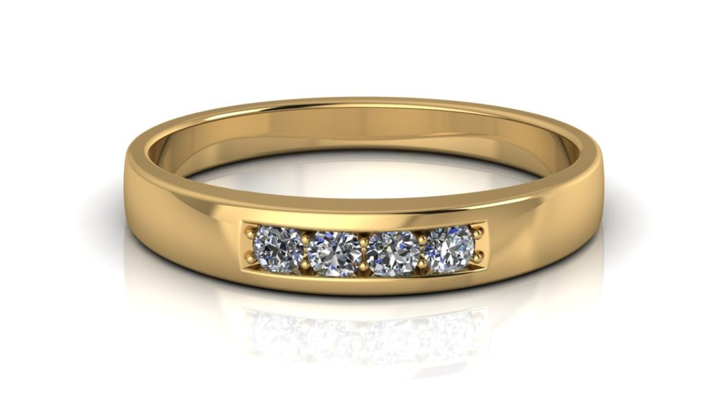 Yellow gold ladies band featuring four pave set diamonds