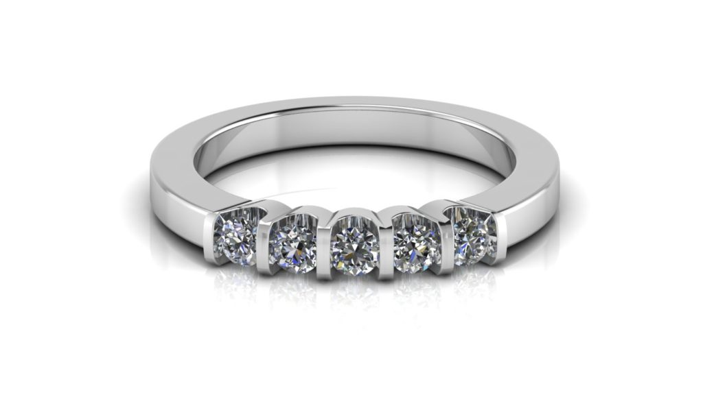 White gold ladies ring featuring five bar set diamonds