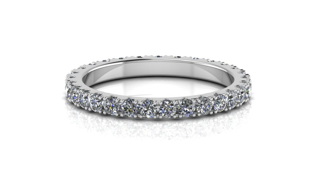 White gold ladies open wall diamond eternity ring