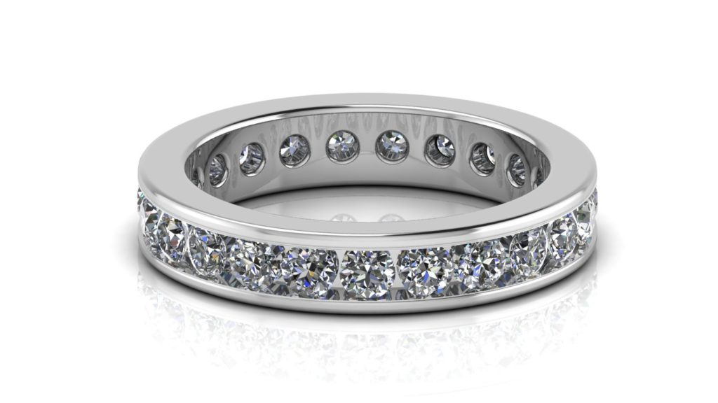 White gold ladies channel set diamond eternity ring