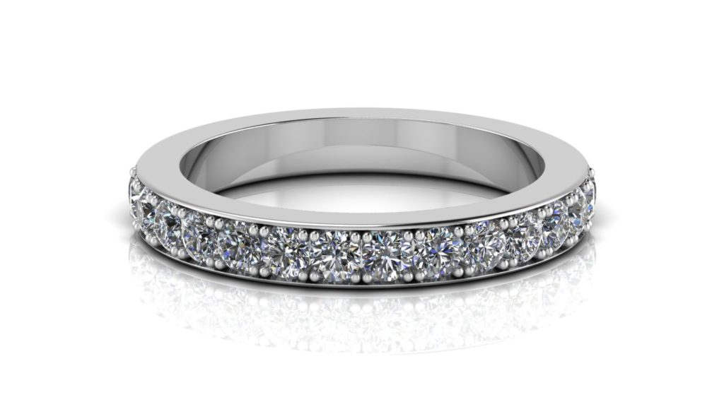 White gold ladies pave set diamond eternity ring