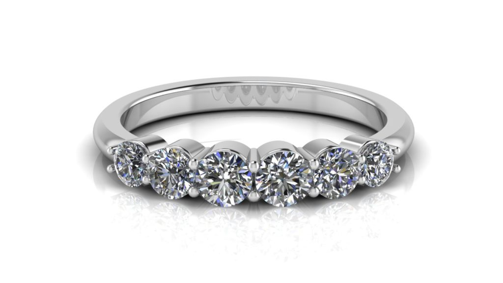 White gold share claw ladies ring featuring six diamonds