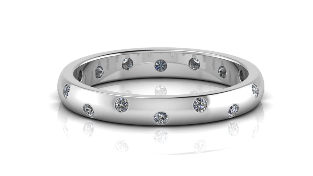White gold ladies band featuring offset flush set diamond all around
