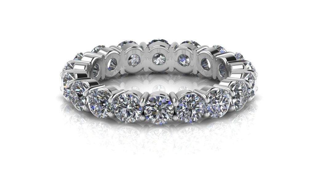White gold ladies share claw diamond eternity ring